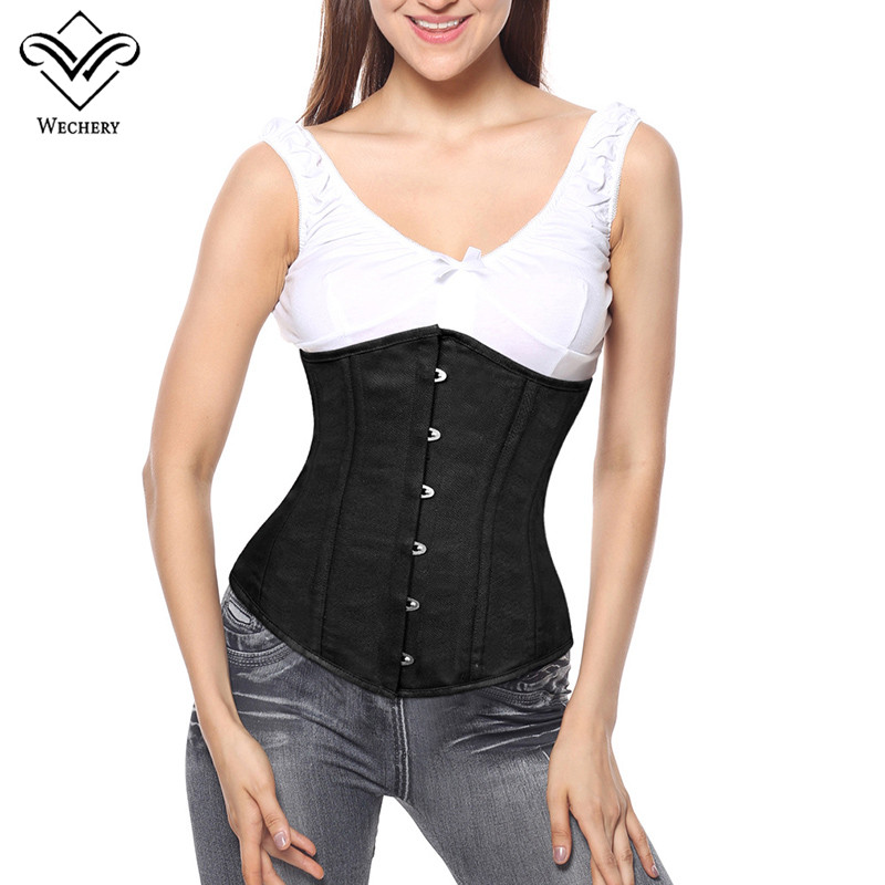 Image 5 - Wechery Steampunk Corset Sexy Underbust  Push Up Corsets Plus Size Lace Up Waist Trainer Vintage Posture  Show Gorset Bustiers-in Bustiers & Corsets from Underwear & Sleepwears