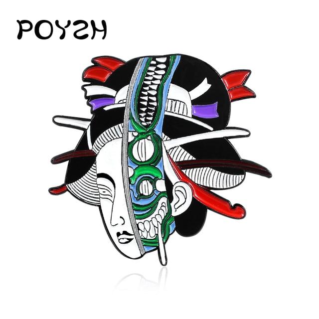 Ultimo disegno Alien Geisha Spille Horror donna del fronte del cranio Dello Smalto Spilli Punk regalo Risvolto cowboy Zaino cappello distintivo Gioielli