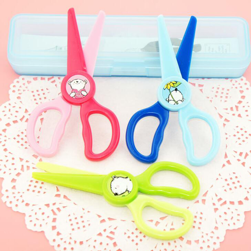 Supply Peerless New 1 Pcs 120mm Mini Plastic Safety Round Head Scissors Paper Cutting Minions Supplies For Kindergarten Student Kids Scissors