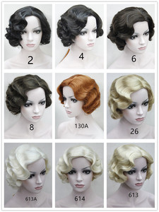 Image 5 - New 9 Colors 20s Womens Retro Short Finger Wave Curly Wavy Pinup Wigs Classy Vintage Wavy Style Wig Halloween Cosplay Headwear