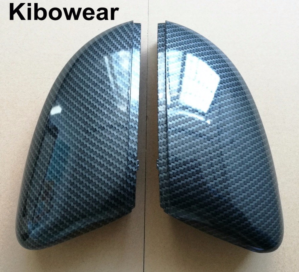 Kibowear for VW Polo 6R 6C Side Door Wing Mirror Cover Replace caps (Carbon look) fit Volkswagen 2010 2011 2012 2013 2014 chrome replace car side mirror housings covers caps for audi a5 2010 2011 2012 2013 2014 2015 2016 2017 abs