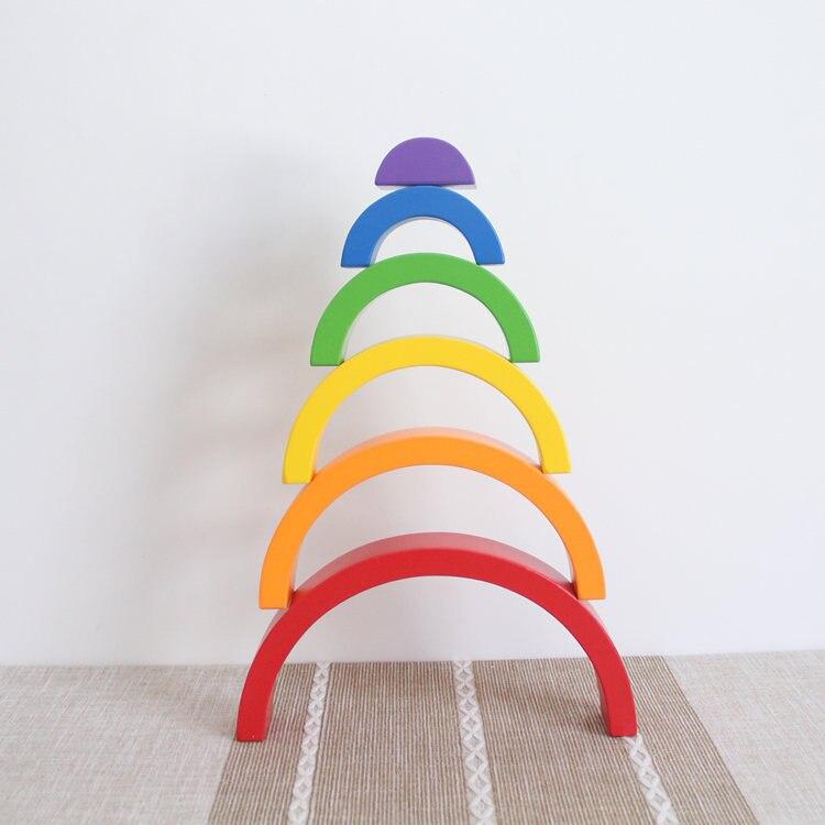 6 pz Arcobaleno Blocchi di Giocattoli In Legno Per Bambini Blocchi di Costruzione di Giocattoli Educativi per Bambini Arcobaleno Montessori Giocattoli Regalo Di Compleanno
