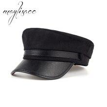 Maylisacc colores sólidos Otoño Invierno lana caliente casquillo de la boina  al por mayor para las mujeres de moda negro Color g. 0cb2feba127
