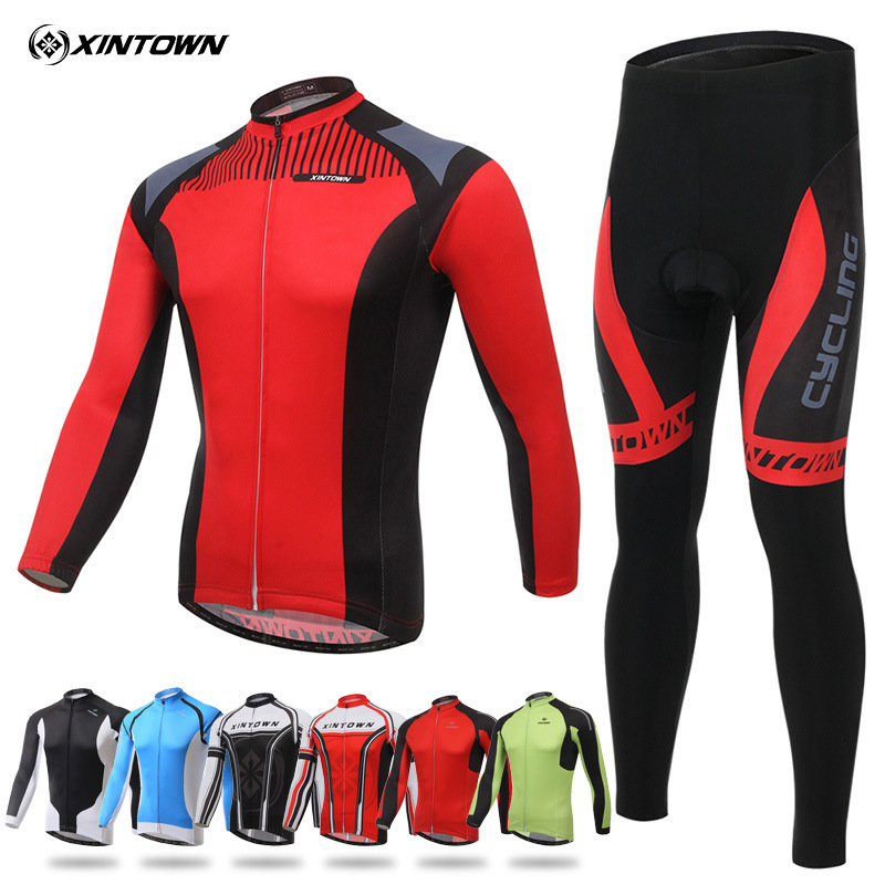 XINTOWN Spring Autumn Men Cycling Set Long Sleeves Cycling Jerseys Set Breathable Bike Clothes Cycle Wear Ropa Maillot Ciclismo xintown mens cycling jerseys set long sleeves mtb jersey pad bike bicycle jacket sets shirts wear uniforms cigar skull s 4xl