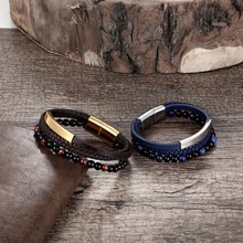 2019 New 6MM Natural Stone Men Bracelet Multi-layer Handmade Weaved Leather Rope Chain Stainless Steel Bangle Male Jewelry Gifts