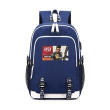 Apex leyendas de carga USB mochila adolescente niños niñas niños bolsas de la escuela Gibraltar sabueso héroe figura mochila bolsa