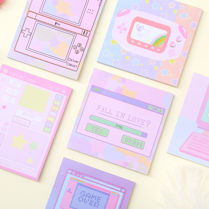 Computer Game Machine Stickers Planner Colourful Sticky Notes Stationery Memo Pad Kawaii Papeleria Notepad
