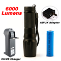LED CREE XM-L2 Flashlight 6000lm Tactical Flashlight Zoomable Torch Waterproof 5 Mode Flash Light Adjustable 18650  Lamp