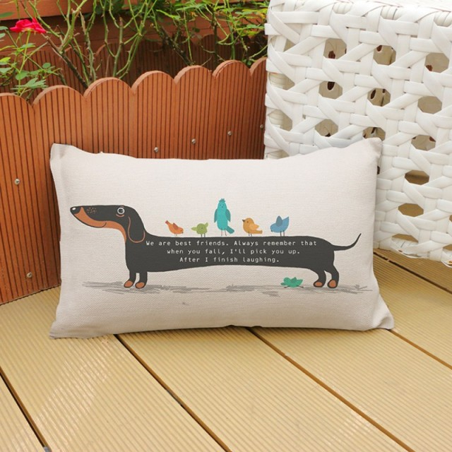 Christmas Decor Dachshund Cats Night Owl Home Decor Pillows For Sofa Cotton  Linen Black And White