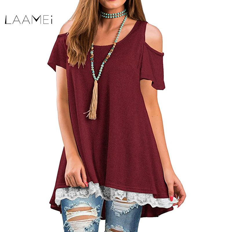 Laamei Women O Neck Patchwork Lace Shirts Short Sleeve Strapless Off the Shoulder Elegant T-Shirt Casual Loose Tee Tops Blusas