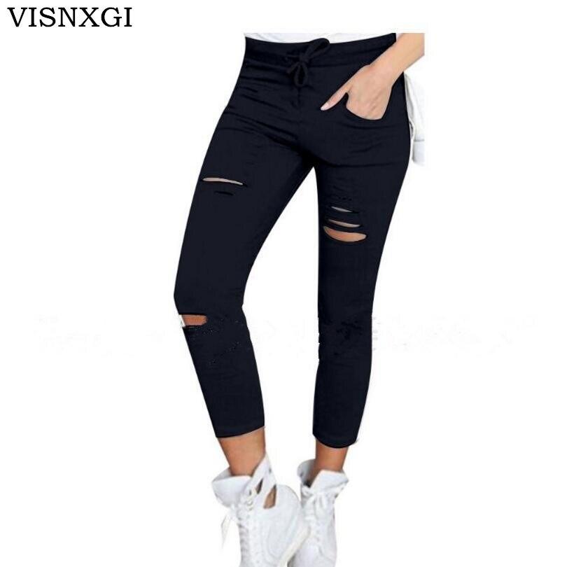 28e59fe27f56cf VISNXGI Novas Mulheres Hip Hop Algodão Nove Pontos Calças Lápis Buraco  Calças Skinny Jeans Stretch de Cintura Alta Calças Lápis Slim capris