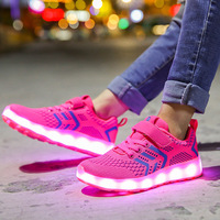 2019 New Glowing Sneakers for Girls Pink Sport Shoes Air Mesh Kids Led Shoes Light Up Sneakers Luminous Shoes for Kids Sneakers