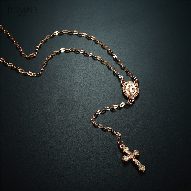 brixini.com - Madonna Coin & Cross Long Chain Necklace