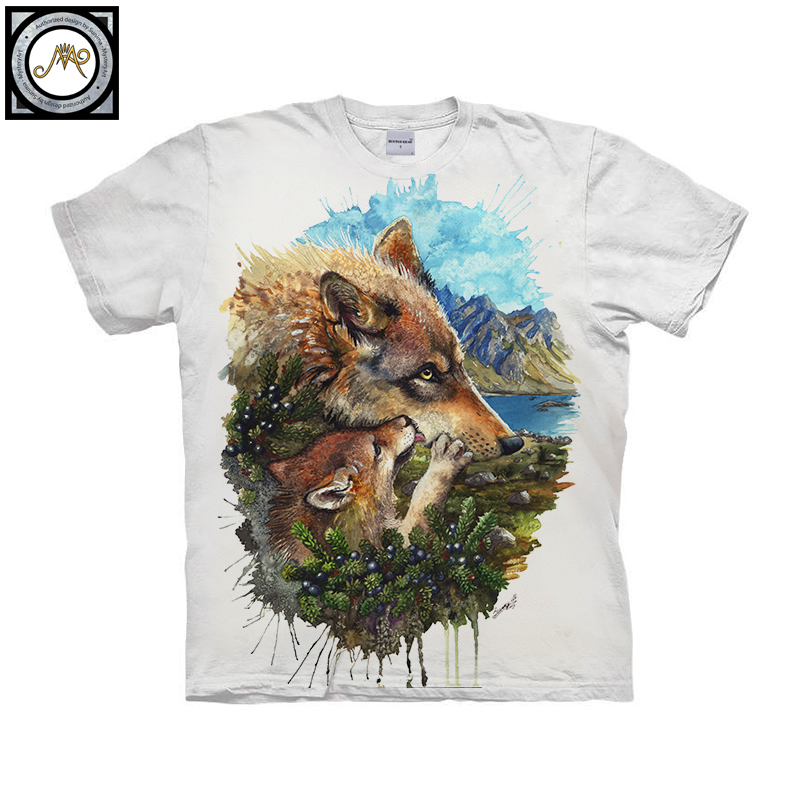 Wolf Cub Mother By Brizbazaar Art Unisex T shirt 3D Print Tees Tops Harajuku Mens Camiseta Short Sleeve Streetwear t shirt Male