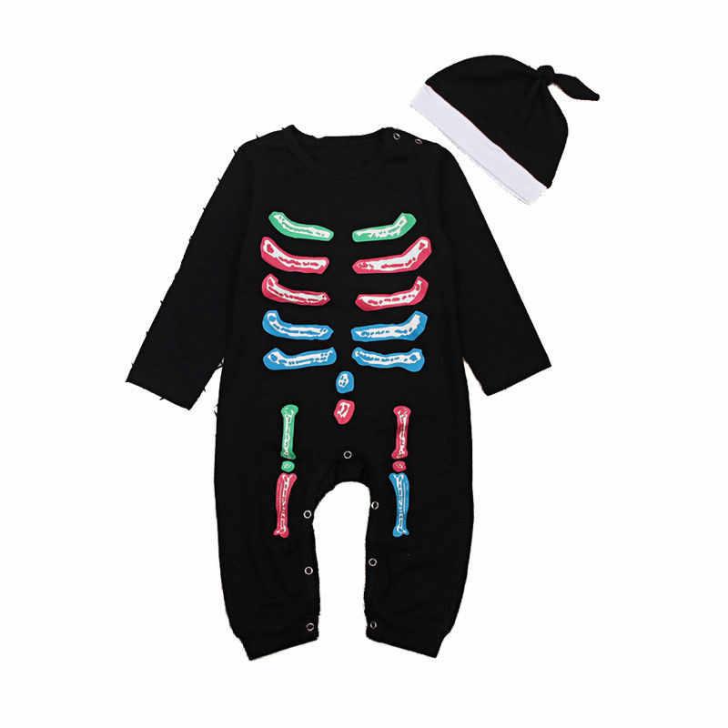 Костюмы на Хэллоуин для маленьких мальчиков и девочек с длинным рукавом черный комбинезон с шортами 2018 осенняя одежда для маленьких мальчиков и девочек, цветные, с рисунком черепа комбинезон + Шапки комплект из 2 предметов
