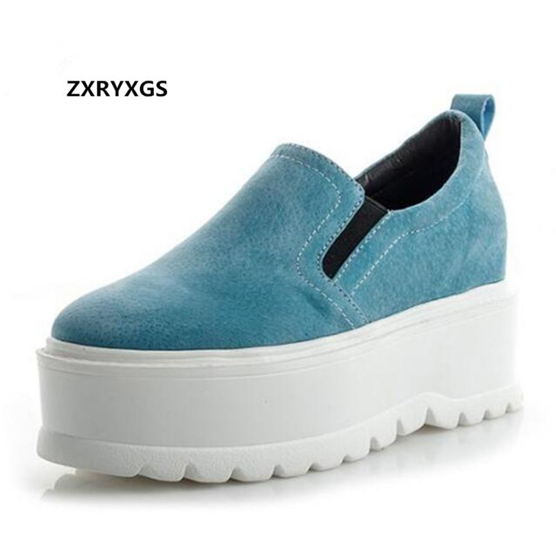 Hot 2019 New Spring Matte Cowhide Platform Shoes Woman Sneakers Non slip Comfortable High Heels Leather