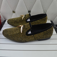 Name Brand Leopard Men Shoes Flats Sequined Detail Loafers Slip On Men Casual Shoes Crystal Breathable