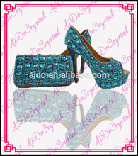 Aidocrystal fashion handmade Crystal Diamond party pumps shoes and bags/Matching Wedding Shoe and Bag Sets