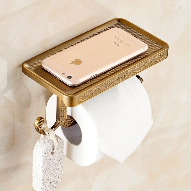 Jsl Bathroom Phone Holder Frame Multifunctional Bronze Toilet Paper Holder Tissue Box Mobile Rack Golden Bathtub Accessories