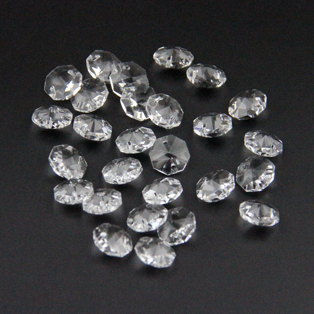 50pcs 10mm~50mm Crystal K9 Octagon Clear Beads In 2 Holes Glass Loose Beads Clear With Silver Back Loose Beads For Strands