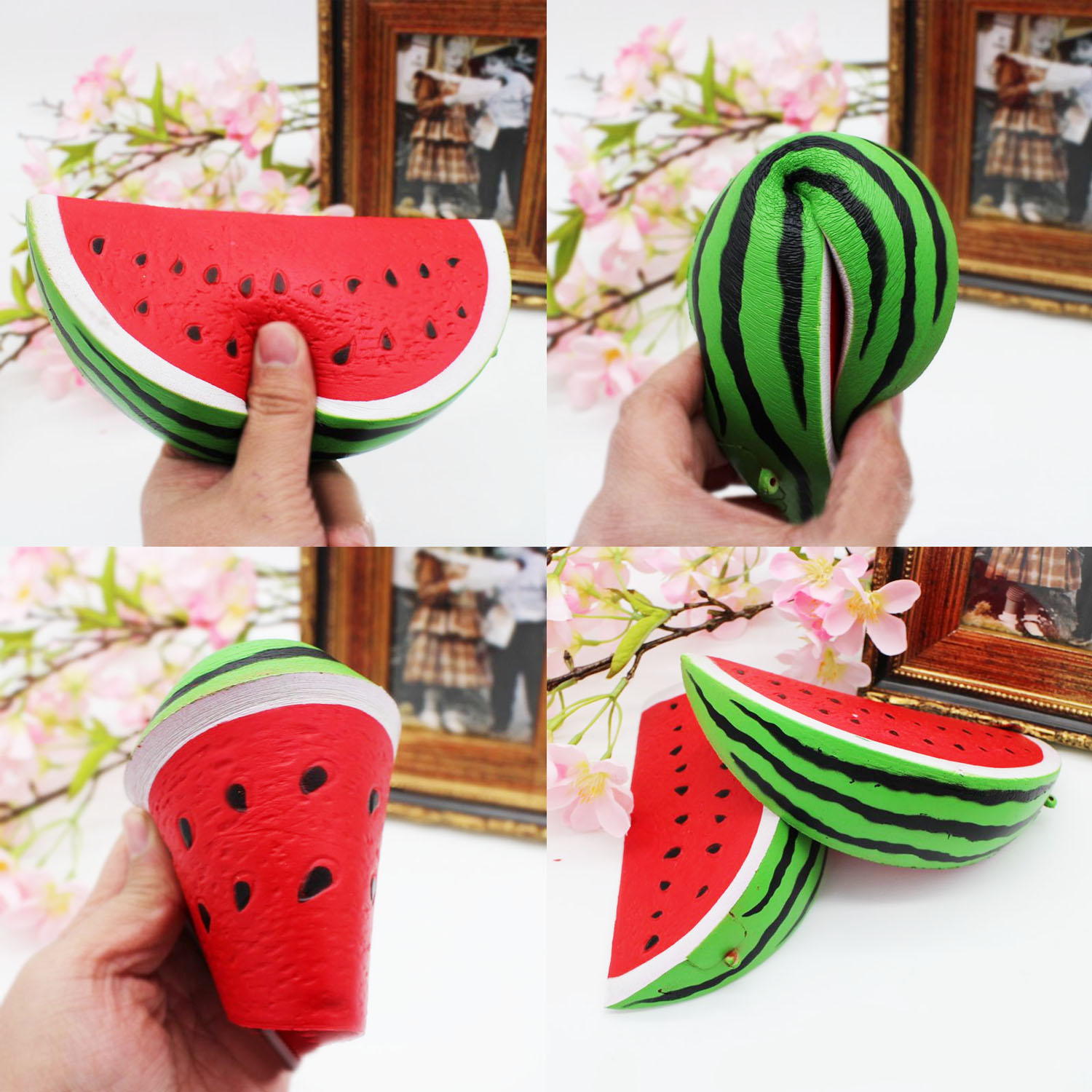 Satkago Soft Squishy Artificial Watermelon Fruit Toy Slow Rising for Children Adults Relieves Stress Anxiety Cabinet Decoration