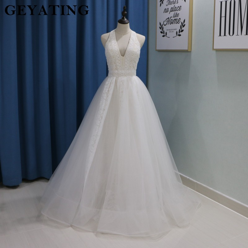 Sexy Halter Backless Halter Country Wedding Dress 2018 Bridal Queen A line Floor Length Lace Boho Beach Bride Wedding dresses