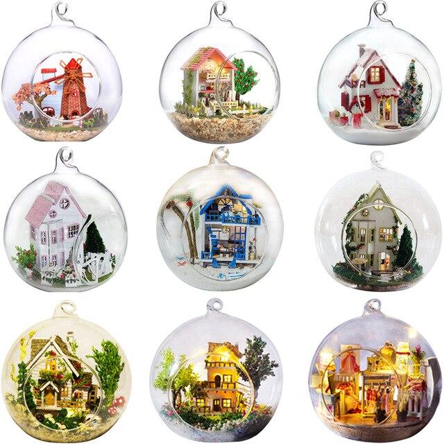 Promoção diy bola de vidro casas boneca de madeira em miniatura casa de bonecas com funitures mini casa modelo kit de construção presente brinquedos