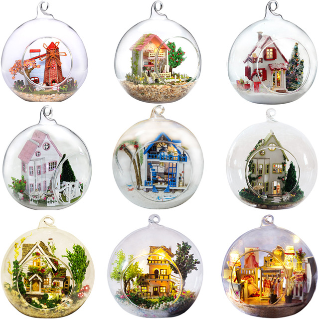 Promotion diy glass ball wooden doll houses miniature dollhouse With Funitures Mini Casa Model Building kit Gift Toys(China)