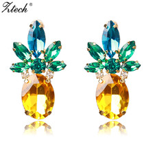 Ztech Fashion Pineapple Stud Earrings Chic Design Created Rhinestones Yellow Green Cute Jewelry Brinco Verde Zirconia