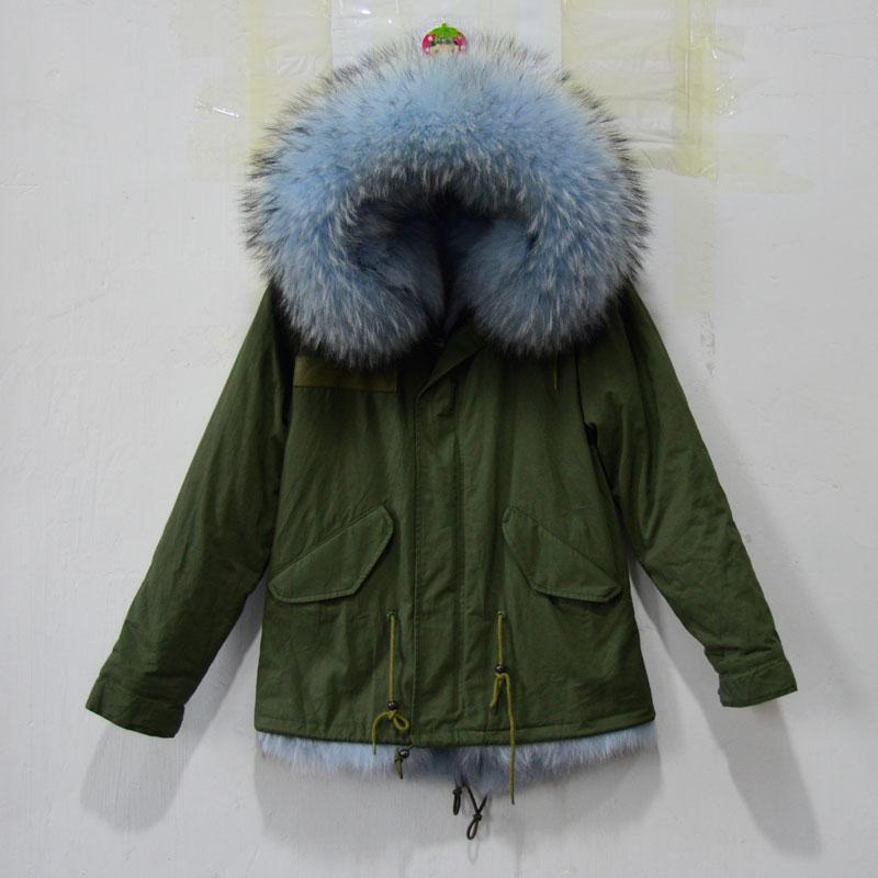 Winter thick warm real fur jacket Light blue real raccoon fur ...