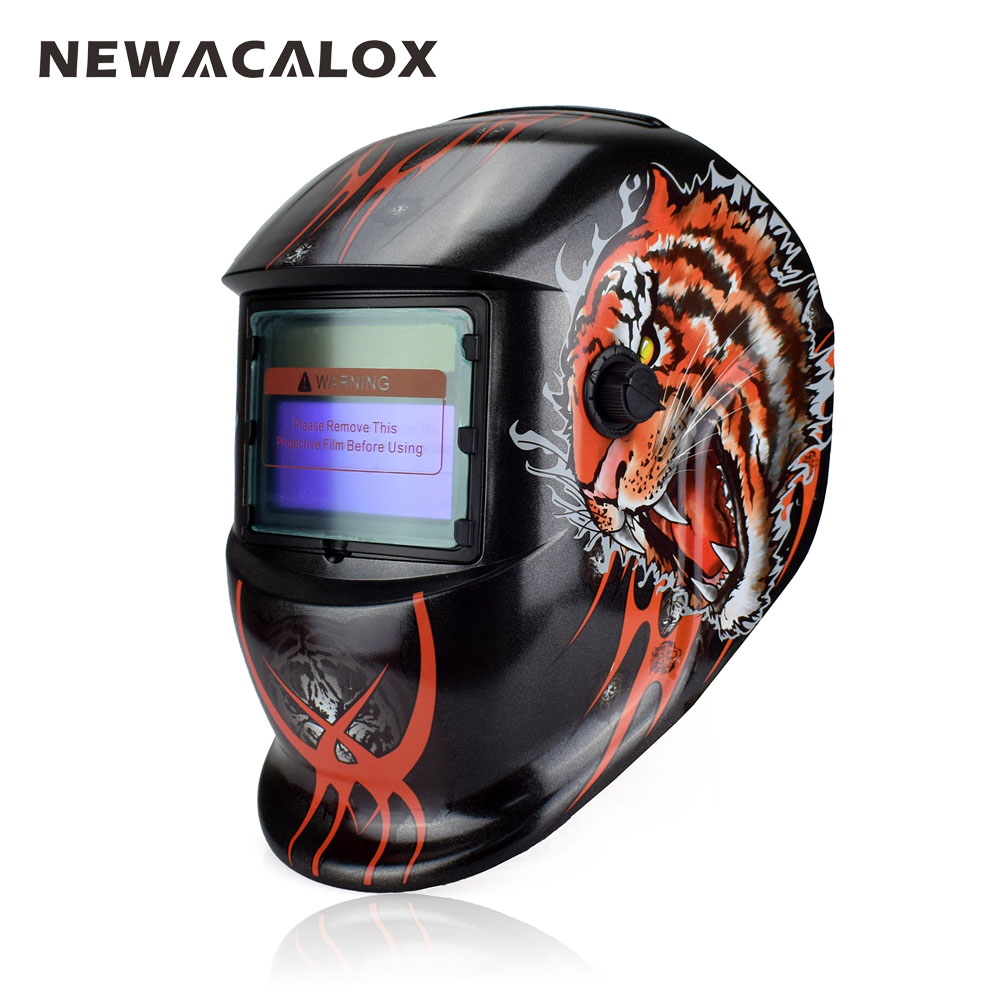 NEWACALOX Tiger Solar Auto Darkening MIG MMA Welding Mask Welding Helmet Weld/Grind /UV/IR Preservation for Welding Machine din7 din12 shading area solar auto darkening welding helmet protection face mask welder cap for zx7 tig mig welding machine