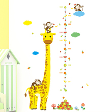 Cartoon Giraffe Monkey Measure Wall Stickers For Kids Rooms Height Chart Ruler Animal Decals Nursery Home Decor Living Room Art цена