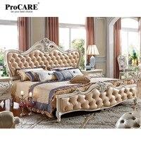 Роскошный европейский и американский стиль мебель королевской серии набор мебели для спальни твердая древесина кожа кровать