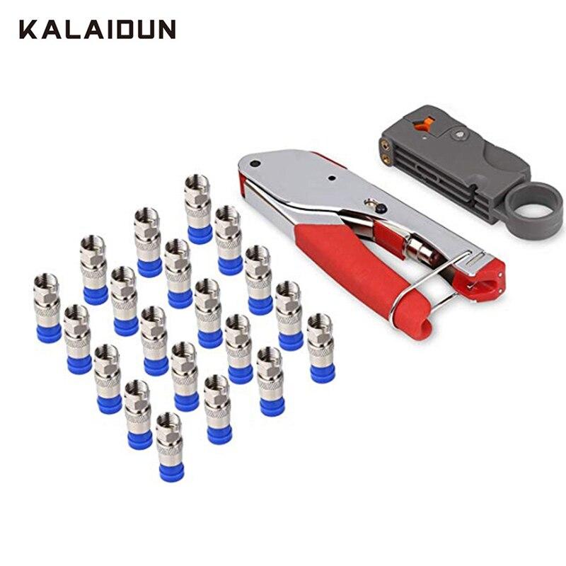 KALAIDUN Zangen 22 stücke Draht Stripper Kit Coax Kabel Crimper Koaxial Kompression Werkzeug Abisolierzange mit F RG6 RG59 Anschlüsse
