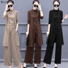 חדש אביב סרוג 3 חתיכה להגדיר נשים בתוספת גודל אימונית ארוך קרדיגן חולצות אפוד רחב רגל מכנסיים חליפה נשים של סטי 2020