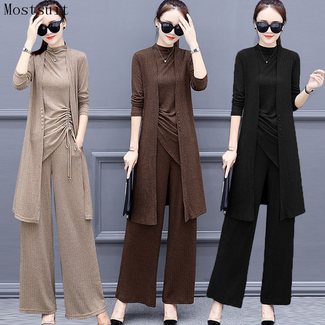 New Spring Knitted 3 Piece Set Women Plus Size Tracksuit Long Cardigan And Vest Tops And Wide Leg Pants Suit Womens Sets 2020