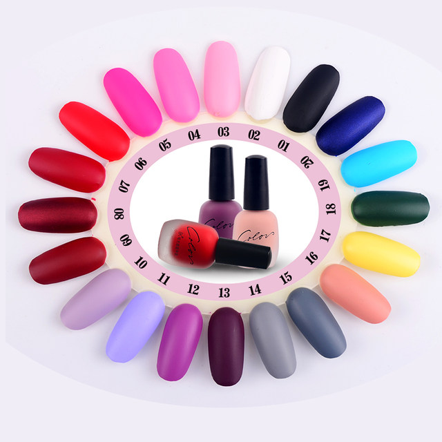 Bk New 20 Colors Satin Frosted Bottle Long Lasting Nail Art Varnish Dull Enamel Manicure Design Quick Dry Matte Polish