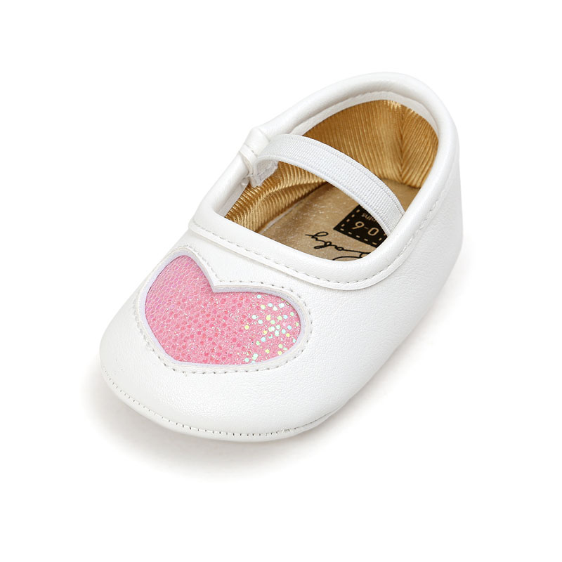 2018 Baby PU Leather Princess Shoes Baby Boys Girls First Walkers Bling Heart Shape Soft Sole Crib Toddler Shoes