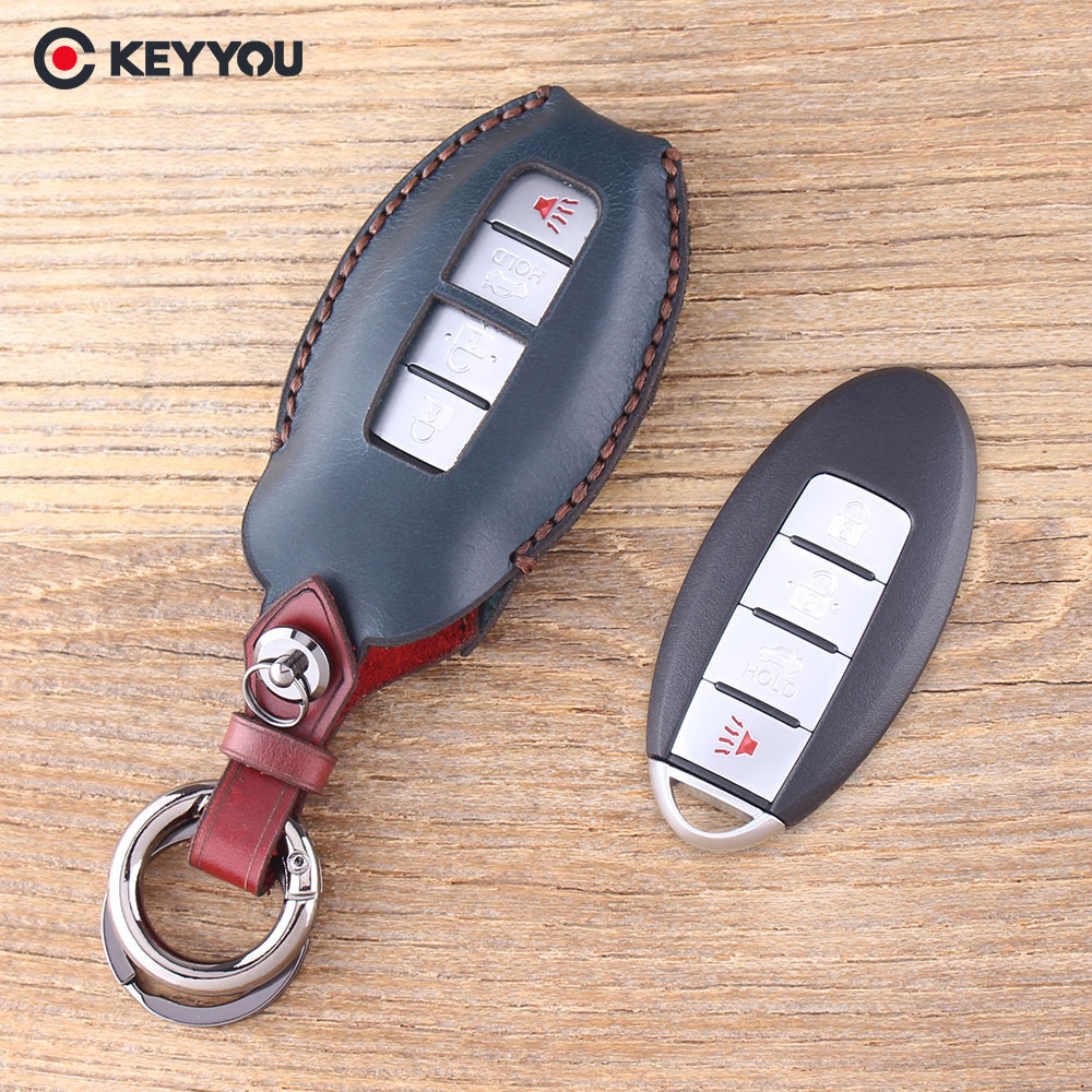 цена на KEYYOU 4 Buttons Leather Key Shell Case For Nissan Sunny ALTIMA MAXIMA Murano Versa Teana Sentra For Infiniti G35 G37 Cover Fob