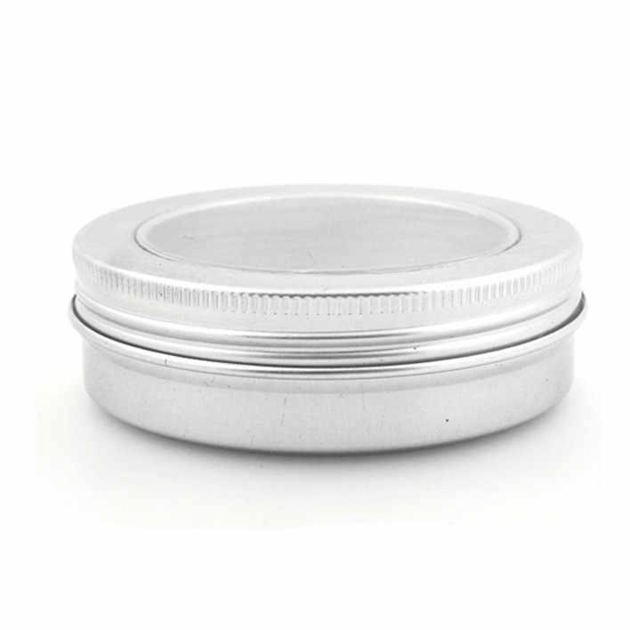 100 мл алюминий бальзам банки горшок, comestic контейнеры с Clear View Прозрачная крышка, крышка резьба, блеск для губ свеча