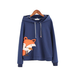 2018 Navy blue&White Fox Cartoon Women Pullover Cotton Mori girls Hoodies Preppy style Cute Teens Cute Sweet Korea Fashion Tops