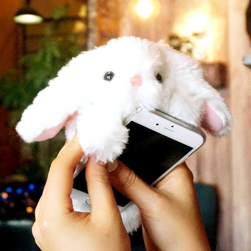 Sierść królika futerkowe etui do Samsung S10 5G S9 S8Plus S7 S6edge S5 śliczne ciepły, puszysty etui na telefon Galaxy Note 10 9 8 A80 A70