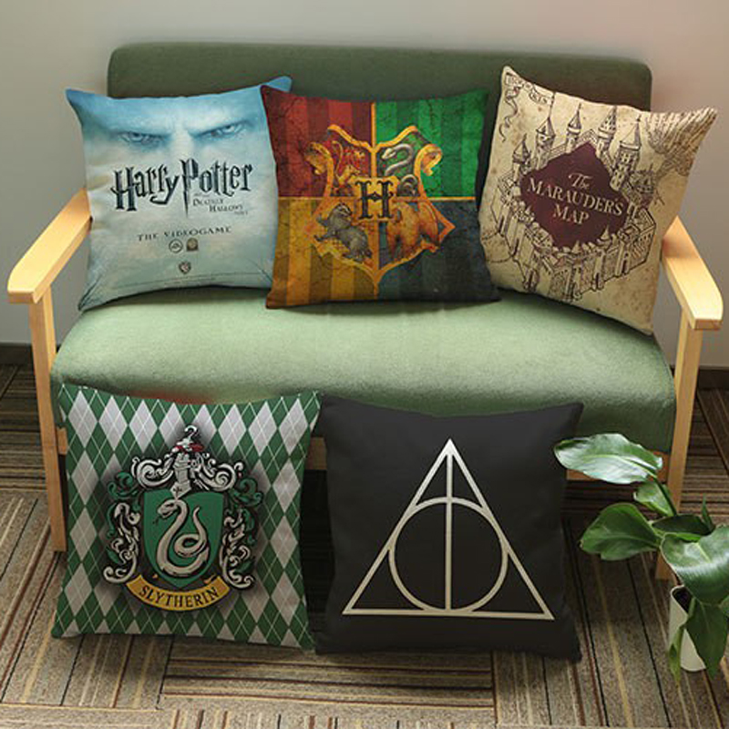 Decorative Pillow Harry Potter Pattern Linen Cotton Cushion For Sofa Home Decor Almofadas Pillowcase Seat Chair Back Cushion
