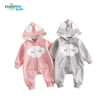 Cute Newborn Baby Hooded Romper Smile Cloud Appliqued Costume Baby Clothes Pocket Overalls Autumn Warm Long