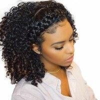 Кудрявый парик 360 Синтетические волосы на кружеве al парики предварительно сорвал с ребенком волос бразильского Синтетические волосы на кру