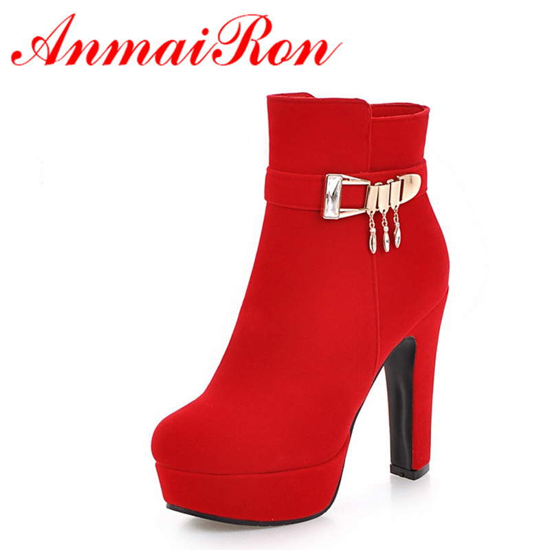 ANMAIRON Buckle Strap Charms Shoes Woman Ankle Boots for Women Winter Sexy Red Boots Platform Round Toe Big Size 34-43 anmairon winter autumn shoes woman low heels ankle boots women nubuck zipper buckle platform short boots black