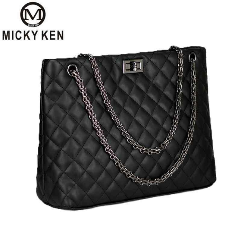 2018 Luxury Brand Women Plaid Bags Large Tote Bag Female Handbags Designer  Black Leather Big Crossbody ddc711b063647