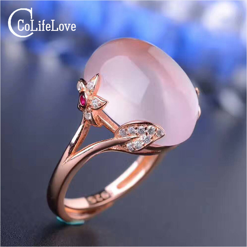 Solid Rose Quartz Ring