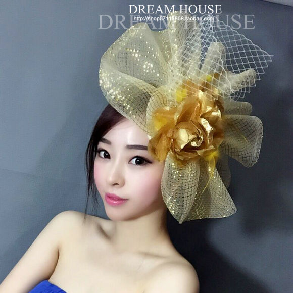 Vogue Show Women Golden Flower Mesh Hair Clip Super Big Red Ladies Party Fascinator Mesh Headwear Hairpin New 2016
