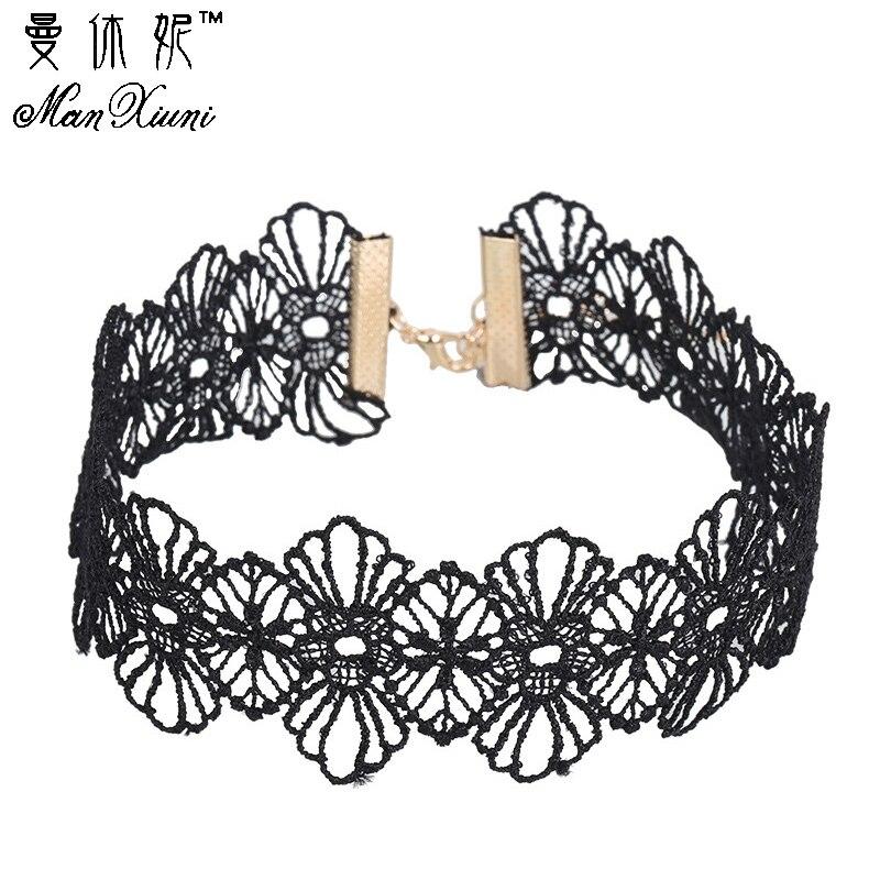 Manxiuni 2017 new Fashion Punk Gothic collar Choker Necklace Boho Black Lace maxi statement necklace